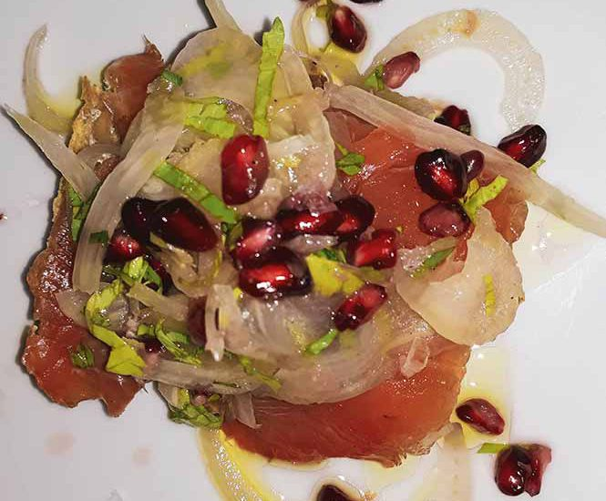 Marinated salmon on toast with fennel salad